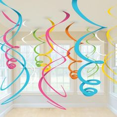Cut giant swirls to hang from the ceiling for a birthday party! Make for adalynns bday party Fiestas Peppa Pig, Cheap Party Decorations, Hanging Decorations, Rainbow Decorations, Holiday Decorations, Festival Decorations, Diy Birthday Decorations, Color Swirl, Spring Party