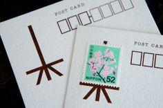 post card  切手をかざる  絵を飾るように、切手を貼ってください  宮崎市の雑貨屋「はなうた活版堂(おおまえ布店+はなうた活版堂)さん」にて お取り扱いいただいております◎  http://nunokami.com/