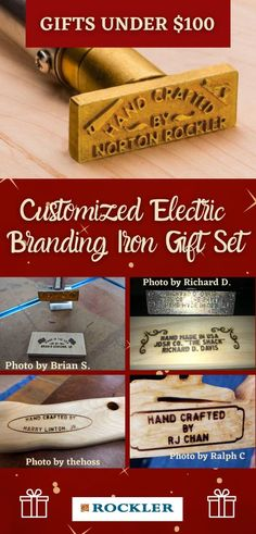 This personalized branding iron gift set lets your favorite woodworker customize their own design and message! This is the perfect holiday gift for the woodworker in your life.  #createwithconfidence #holidaygifts #customizedbrandingiron #brandingiron #giftset Branding Iron, Woodworking Shop, Holiday Gifts, Christmas Presents