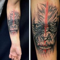 Abstract Gorilla With Red Line Through Face Tattoo For Males