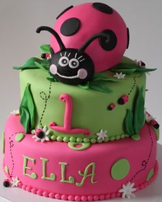 My customer wanted a Hot Pink/Lime Green, Lady Bug themed cake for her daughter's birthday. The lady bug body was carved from a double. Pretty Cakes, Cute Cakes, Beautiful Cakes, Cute Birthday Cakes, Birthday Parties, Birthday Ideas, 20th Birthday, Happy Birthday, Ladybug 1st Birthdays