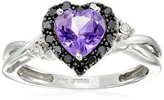 10k White Gold Heart Shaped Amethyst with Round Black and White Diamond Ring, Size 9	by Amazon Collection - See more at: http://blackdiamondgemstone.com/jewelry/rings/statement/10k-white-gold-heart-shaped-amethyst-with-round-black-and-white-diamond-ring-size-9-com/#sthash.J8I450Sv.dpuf