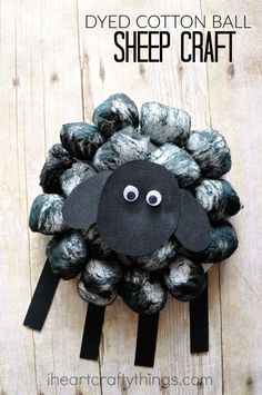 This dyed cotton ball sheep craft is so fluffy and fun and it goes along perfectly with the nursery rhyme Baa, Baa, Black Sheep and as a cute spring or Easter craft for kids.