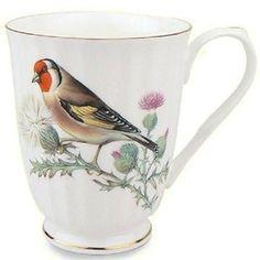 Set of 4 Red Bird 12 oz. Mugs Fine Bone China with Gold Trim - Roses And Teacups Porcelain Mugs, China Porcelain, How To Trim Roses, Bird Bones, China Mugs, Ceramic Design, Purple Roses, Mugs Set, Bone China