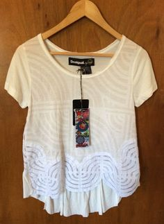 DESIGUAL Women Blouse Size EU S / USA XS Short Sleeve Off-White Top Valentines #Desigual #Blouse #Casual