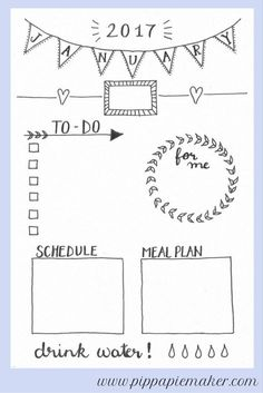Free Printable Daily Planner January by http://pippapiemaker.com