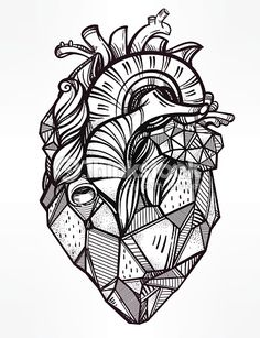 Heart of stone, highly detailed vintage style hand drawn line art. Beautiful tattoo template. Isolated vector illustration, design element.