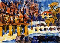 Casas de campo en invierno, 1969 - Karl Schmidt-Rottluff