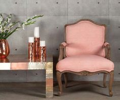 Silver Anatole Coffee Table and Pale Pink Bergere