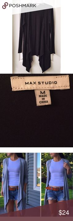 """Max Studio Patch Pocket Cardigon A jersey topper is perfect as a top layer to wear in the spring or cool summer nights.  Draped open front, Long sleeves, Patch pockets, sharkbite hem, Approx. 27"""" shortest length, 36"""" longest length.   92% rayon, 8% spandex.  Like new. Tops"""