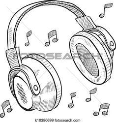 Ideas For Music Headphones Art Musica Music Drawings, Cool Art Drawings, Pencil Art Drawings, Art Drawings Sketches, Easy Drawings, Drawing Drawing, Easy Drawing Images, Music Doodle, Doodle Art