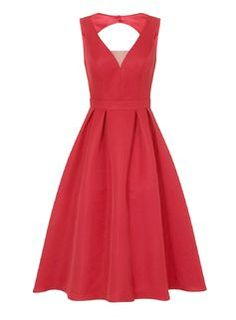 **Chi Chi London Red Mesh Insert Midi Dress