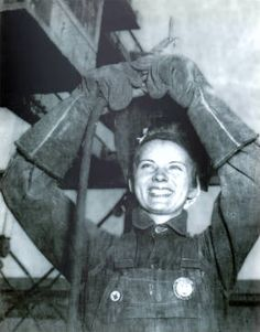 1944 :: Vera Anderson in Welding Gear Smiling, Ingalls Shipbuilding National Women's Welding Championship :: Mississippi Armed Forces Museum