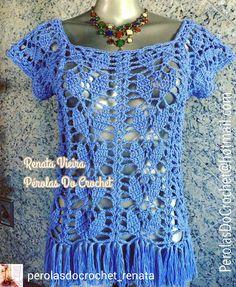 crochelinhasagulhas: Blusa, saia e vestido azul em crochê