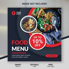 Social media post food discount restaura...   Premium Psd #Freepik #psd #banner #food #business #sale Food Poster Design, Creative Poster Design, Creative Posters, Social Media Banner, Social Media Template, Social Media Design, Restaurant Discounts, Company Letterhead, Bakery Branding