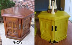 I happen to have an old octagonal end table that needs to be fixed up -- perfect timing! Maybe I'll do fuchsia... :)