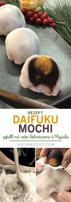 Daifuku Mochi: Rezept für süßes japanisches Klebreismehl-Konfekt, gefüllt mit einer Creme aus roten Bohnen und Physaliscreme. #mochi #japanesesweets