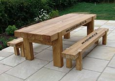 rustic oak table and bench