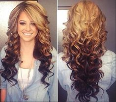 Sizzling hot ombré coloured hair in curls front and back view