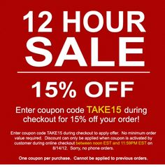 Today, 8/14 till midnight!  Use coupon code TAKE15 at checkout!