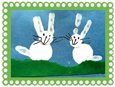 Easter bunnies using hand prints.