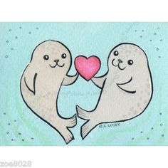 Seal Couple with Love Heart Sea Original Valentine ACEO Watercolor  eBay
