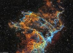 IC 1340 is part of the Veil Nebula, a supernova remnant in constellation Cygnus at distance of about 1470 light years. The shock front formed by the material ejected from giant explosion, the super nova, can be seen in this image. The image was taken by J.P. Metsävainio in Finland