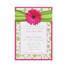 Pink gerber daisy, green floral damask and ribbon wedding invitation. #weddings #invitations
