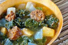 Turkey Meatballs with Roasted Butternut Squash and Broccoli Rabe Soup | Carefree Cooking Magazine