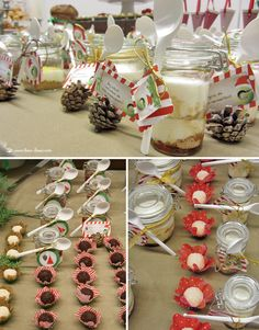 The color pallet of green, red, brown and gold details for the portuguese Groupon Christmas party