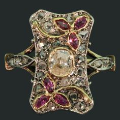 Antique Floral Ring Victorian Rose Cut Diamonds Ruby  (570×570)