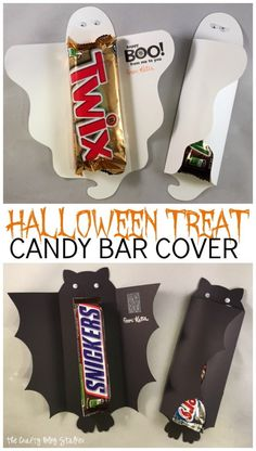 Fun Halloween Treat Candy Bar Covers to give away at your Halloween Party. Download Free PNG Pattern  to make these super simple to make and fun to give.