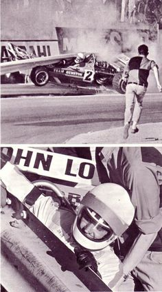 Lucky, lucky South African privateer John Love, lived to race another day. Francois Cevert had a similar accident at Watkins Glen but didn't survive. F1 Crash, Motorcycle Types, Mclaren F1, Old Race Cars, Drag Racing, Auto Racing, Car And Driver, Vintage Racing, Formula One