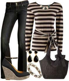 Casual Outfits | Stone Stripes with Black @ http://comicsqueers.tumblr.com #clothing #apparel #casual dresses #dress