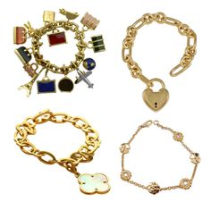Vintage Charm Bracelets: Exceptional Louis Vuitton 18k Gold Charm Bracelet (14 Charms all signed and numbered: Earth, Eiffel Tower, Vintage Car, Private Jet, Keys and several Louis Vuitton Bags) $100,000.00 at 1stdibs.com; Tiffany & Co. 18k Gold Large Heavy Heart Charm Bracelet, Chanel Camilia Diamond Clover Link 18k Yellow Gold Bracelet, Van Cleef & Arpels 18k Gold Alhambra Mother of Pearl Charm Bracelet ..