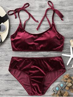 Velvet Padded Bralette Bikini Set - BURGUNDY S