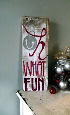 Christmas Oh What Fun GLITTER Repurposed Wood Decor by LilRedBrickHouse on Etsy, $20.00