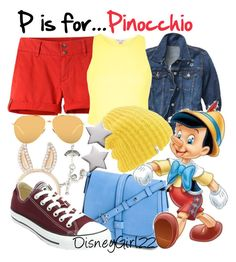"""""""P is for... Pinocchio"""" by disneygirl22 ❤ liked on Polyvore featuring Mountain Khakis, Disney Couture, Gap, River Island, Coal, Aamaya by Priyanka, Converse, Linda Farrow, disney and disneybound"""