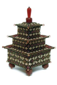 "Shinjin    Dimensions:  1.75"" wide x 4"" tall    Technique:  Peyote Stitch"