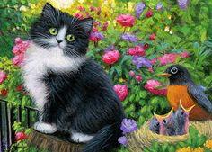 Tuxedo kitten cat robin birds nest garden flowers original aceo painting art #Miniature
