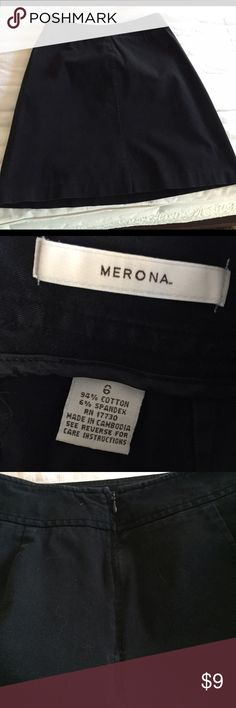 """Merona perfect skirt Merona perfect black skirt. Size 6. 94% cotton. 6% spandex. Zipper in back. Unlined on inside. Nice fabric. Wide waistband with center seam design front/back. No back kick pleat. 14.25"""" waist, 20"""" length measured flat. Bundle and save! Merona Skirts Midi"""