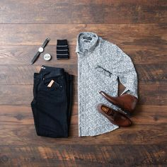 Men's Classy Style, button down, denim and chukka boots. #boots #watch #denim #menstyle