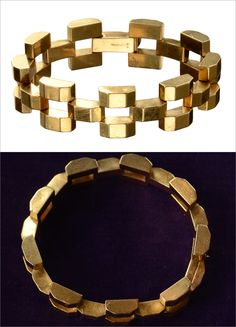 1940s Tiffany & Co. Geometric Linked 14K Gold Bracelet, $3450