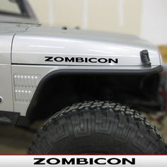 ZOMBICON rubicon style font Hood Decals for Jeep by AlphaVinyl, $5.49