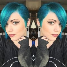 beautiful teal blue hair