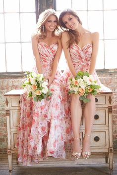 red printed flowers bridesmaid dresses / http://www.deerpearlflowers.com/mix-n-match-bridesmaid-dresses/2/