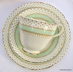 Vintage Paragon English Fine Bone China Teacup, Saucer and Tea Plate Trio Polka Pattern-- something about polka dots and china <3