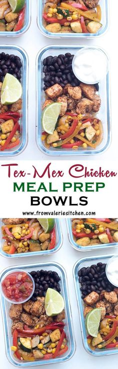 With a little advance planning on the weekend you can have these healthy Tex-Mex Chicken Meal Prep Bowls waiting in your refrigerator for a fast and easy meal anytime. Perfect for lunch on-the-go!