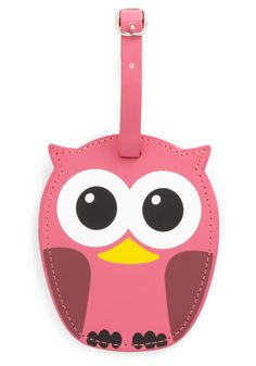 Whos Hoot Luggage Tag in Pink by Kikkerland