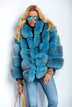 NEW 2015 BLUE ROYAL SAGA FOX FUR LONG JACKET COAT RENARD FUCHS мех лиса PELZ #LAFURIA #BasicJacket